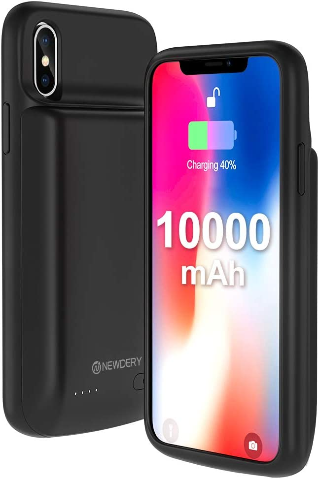 NEWDERY iPhone X Xs Battery Case, 10000mAh Rechargeable External Charging Charger Case Compatible iPhone X Xs 10 (5.8 Inches Black) - Extended 300% Battery Life