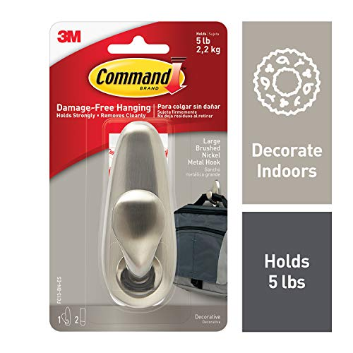 Command Brushed Nickel Metal Hook, Large, Decorate Damage-Free, 1 hook, 2 strips (FC13-BN-ES)