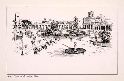 1900 Wood Engraving Arequipa Peru South America Main Plaza Courtyard Cityscape - Original Wood - Las Images Plaza Americas