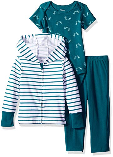 Zippin Pants and Knit Hoodie with Short Sleeve Bodysuit Set, Green Stripe 6-12 Months ()