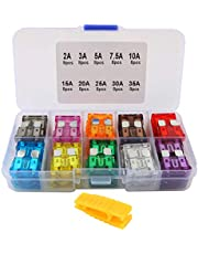 FULARR 80Pcs Professional Car Truck Boat Fuse, Assorted Standard Blade Fuse Assortment Kit, with Replacement Fuses Puller & Storage Case –– 2A / 3A / 5A / 7.5A / 10A / 15A / 20A / 25A / 30A / 35A