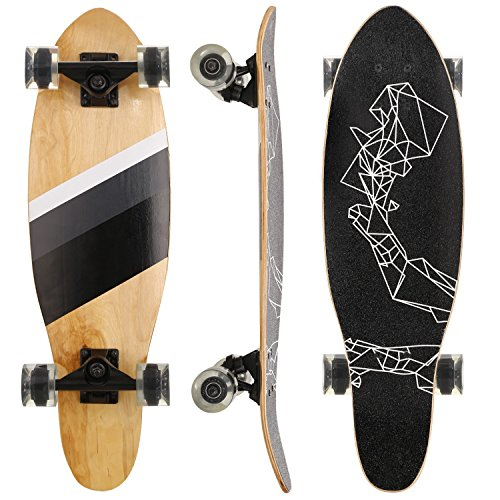 Everyday Transfer Board - WeSkate 27 Inch Mini Cruiser Skateboard 7 Ply Maple Board, Portable Lightweight Complete Skateboards for Kids and Adults