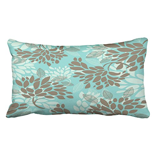 Shorping Zippered Pillow Covers Pillowcases 20X36 Inch Brown Aqua Blue Green Florals Mix Match Decorative Throw Pillow Cover,Pillow Cases Cushion Cover for Home Sofa Bedding Bed Car Seats Decor