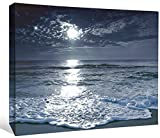 "JP London LCNV2089 Moonlight Twilight Beach Cool Water Vacation 2"" Thick Stretched Canvas Wall Art Mural, 46"" x 34"""
