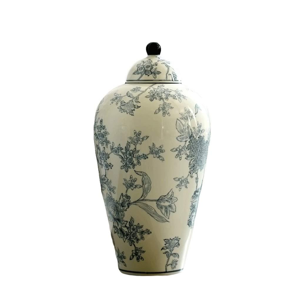青と白の磁器の花瓶新しい中国の花柄のリビングルームのフラワーアレンジメントの装飾飾り HUXIUPING (Design : Round) B07T3YRYPK  Round