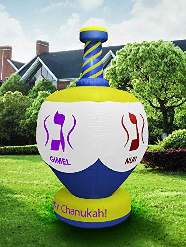 Zion Judaica Inflatable Lawn Jumbo Hanukkah Dreidel Indoor Outdoor Decoration with LED Night Glowing Lights - 8' Tall 2017 Version ()