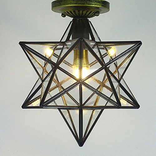 JYKJ Ceiling lamp Retro Five-pointed Star Lamp Glass Industry Loft Metal Japanese Lantern Lights Vintage Chandelier Restaurant Bars Cafe Attic Book Lights (Material : Transparent glass) (Glass Japanese Vintage)