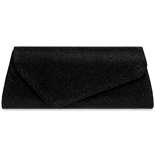 Asymmetrical Glitter Clutch TA394 Bag CASPAR Envelope with Black Evening Ladies Elegant Flap 4ngxzwzBfq