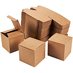 Kraft Gift Boxes - 100-Pack Gift Wrapping Brown Paper Boxes with Lids, Kraft Boxes for Party Supplies, Cupcake Containers, Wedding Favors, Small, 3 x 3 x 3 Inches