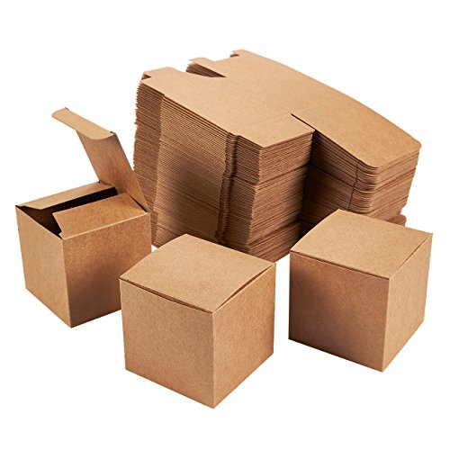 - Kraft Gift Boxes - 100-Pack Gift Wrapping Brown Paper Boxes with Lids, Kraft Boxes for Party Supplies, Cupcake Containers, Wedding Favors, Small, 3 x 3 x 3 Inches
