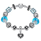 Gorgeous Jewelry Blue Diamond Accented Crystal Hollow out Silver Beaded Heart Pendant Bracelet