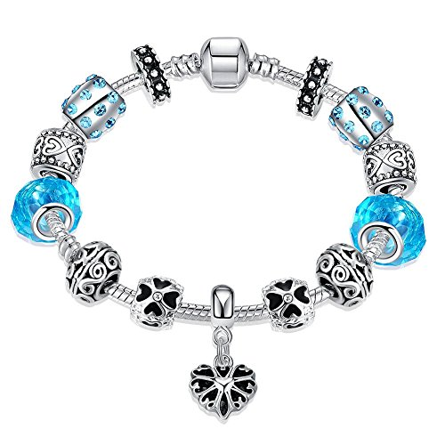 Price comparison product image Gorgeous Jewelry Blue Diamond Accented Crystal Hollow out Silver Beaded Heart Pendant Bracelet