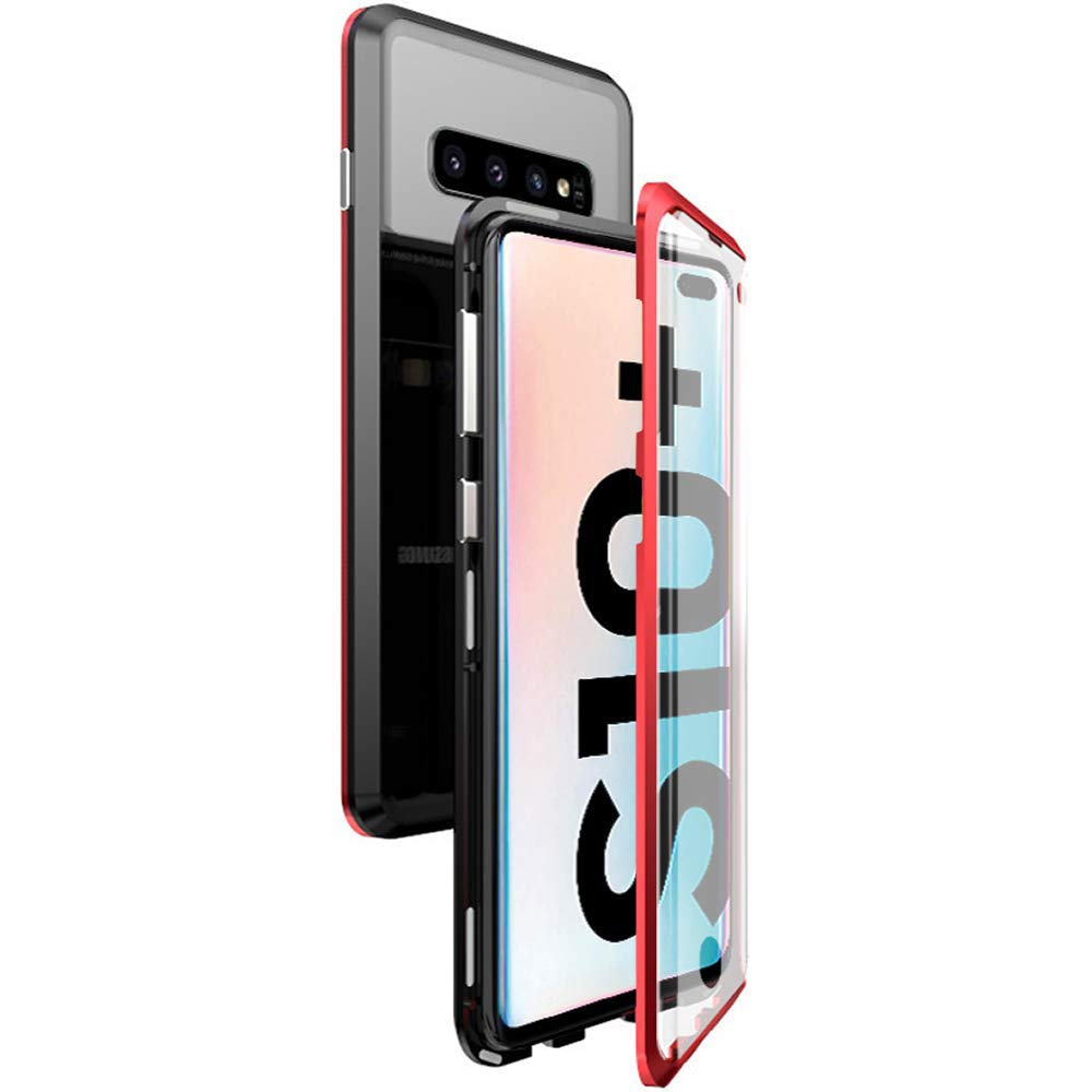 Black Oihxsetx Compatible for Galaxy S10 Plus Magnetic Adsorption Double Side Tempered Glass Case,Ultra-Thin Magnetic Metal Frame Full Body Protection Cover Support Wireless Charging S10