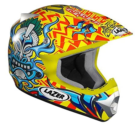 Lazer X6 Junior Casco de Motocross para Niños, Tiki Amarillo/Azul, XS: Amazon.es: Coche y moto