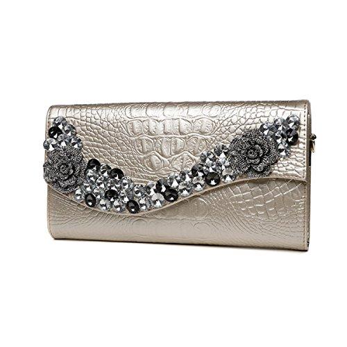 Bags Shoulder Large Elegant Luxurious Bags Capacity Rhinestone Bags Clutch Bags Evening Party Women's Gold Messenger tqAHwaTq