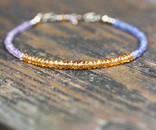 JP_Beads Natural Pink Sapphire, Mandarin Garnet and Tanzanite Bracelet Solid 14k Gold FilledFilled 3.5mm - 4mm