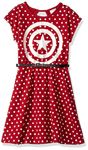 Marvel Little Girls' Captain America Dress with Belt, Burgundy, S-4 -