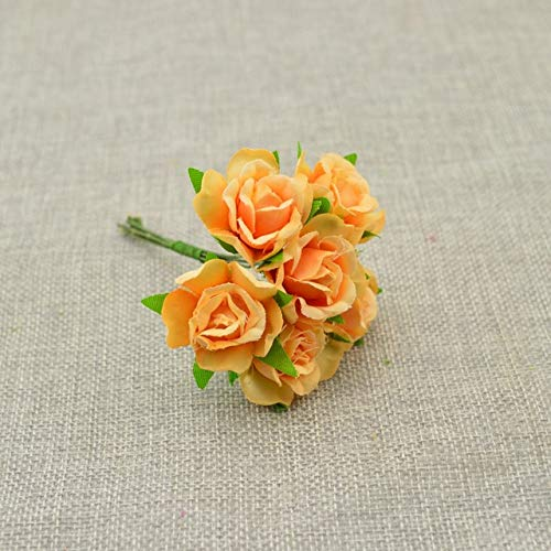 (ShineBear 6pcs Silk Flower Wedding car Bridal Bouquet Roses Artificial Flower for Decoration Scrapbooking DIY Wreaths Craft Candy Gift Box - (Color: Orange))