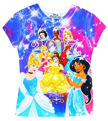 Disney Princess Shirts (Disney Youth 2017 Dated Princess Sublimated Shirt, Multi Color (Florida Namedrop) (L))