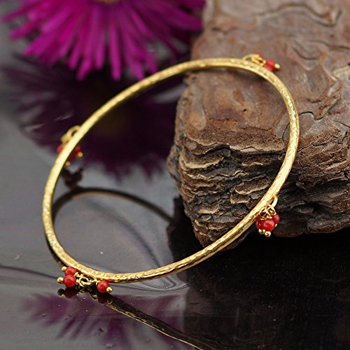 24k Bangle - Sterling Silver 925k Handmade Hammered Bangle W/ Coral Charms Turkish Jewelry 24k Gold Vermeil