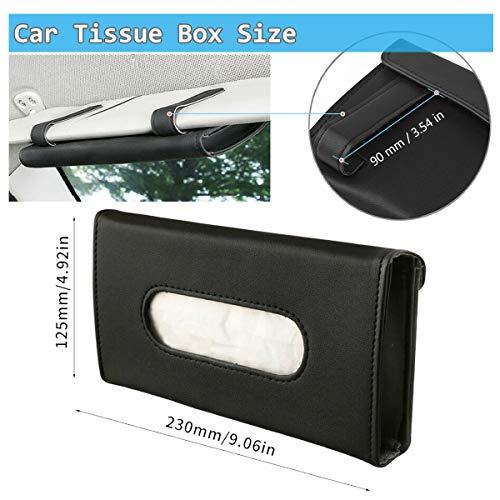 Fuich Car Tissue Holder 2 Pack, Sun Visor Tissue Box Holder Black, PU Leather Tissue Paper Holder for Sun Visor & Seat Back