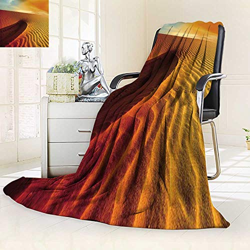 (YOYI-HOME Warm Microfiber All Season Duplex Printed Blanket Sun Over The Sahara Desert Print Artwork Image/47 W by 69
