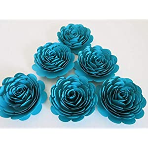 "Dark Teal Blue Roses, Set of 6 Paper Flowers, Big 3"" Blossoms, Bridal Shower Decor, Wedding Reception Table Centerpiece Ideas, First Anniversary Gift Idea, Always In Blossom 36"