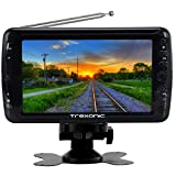 Trexonic Portable Ultra Lightweight Rechargeable Widescreen 7'' LED TV with SD, USB, Headphone Jack, Dual AV Inputs and Detachable Antenna