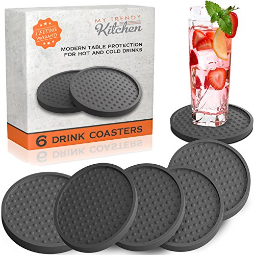 Table Drink Coasters Silicone 6 Pack with Good Grip on any Tabletop or Bar, Prevents Furniture Damage, Large Modern Soft Rubber Place Mat for Beverage and Liquor Drinking Glasses, - Black Jug Toast