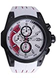 Daniel Steiger Roadster Racing Ice White Chronograph Sports Watch - 100M Water Resistant - Durable Silicone Band With Designer Stitching