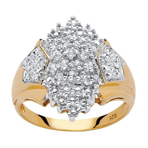 Genuine Diamond Cluster Ring - White Diamond Accent 18k Yellow Gold over .925 Silver Cluster Ring (.10 cttw, HI Color, I3 Clarity) Size 8
