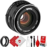 Opteka 50mm f/2.0 HD MC Manual Focus Prime Lens with Vented Hood and Cleaning Kit for Nikon 1 Mount CX Format Digital Cameras
