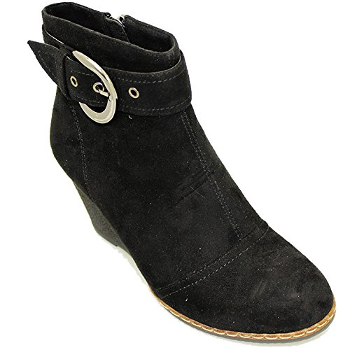 Saphir Boutique glc452Carmen Feel Medium Damen Wildleder Keil Smart Schnalle Stiefelette Schwarz