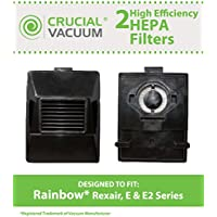 2 Replacements for Rainbow HEPA Style E-Series Filter Fits Rexair, E & E2 Series, Compatible With Part # R10520, R-10520 & R12106B, Washable & Reusable, by Think Crucial