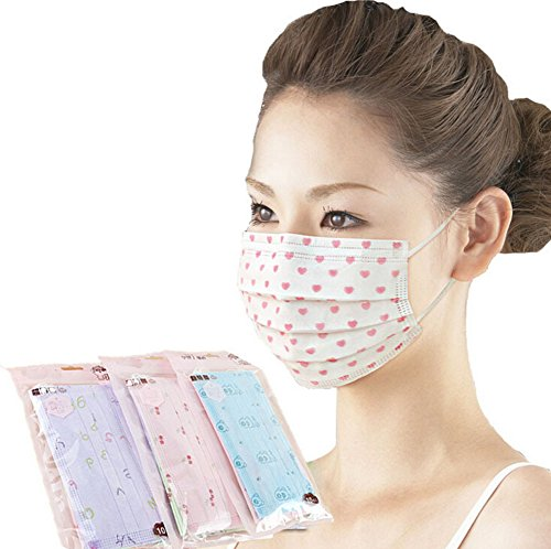 Ewandastore 3 Layer Cartoon Colorful Printed Non-woven Fabric Disposable Surgical Dust Filter Ear Loop Mouth Cover Face Mask 40 Pack