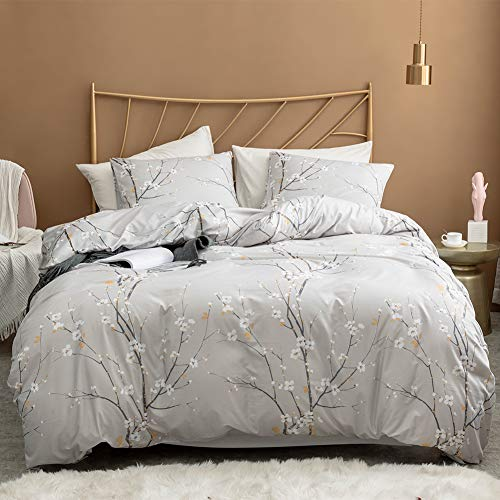 (Argstar 3 Pcs Queen Duvet Covers Set, Branch and Plum Printed Pattern Bed Sets, Cream Floral Comforter Cover with Zipper Ties, Ultra Soft Lightweight Microfiber, 1 Duvet Cover and 2 Pillow Shams)