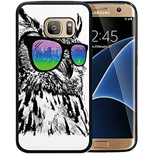 Galaxy S7 Edge Case Black Customized Black Soft Rubber TPU Samsung Galaxy S7 Edge Black Case (Not Fit for Galaxy S7 Edge Edge) Wearing fashion glasses Owl Sales
