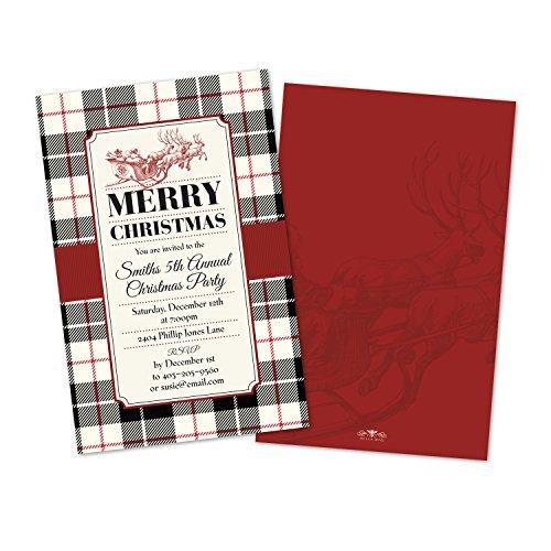 Vintage Santa Plaid Personalized Christmas Party Invitations ()