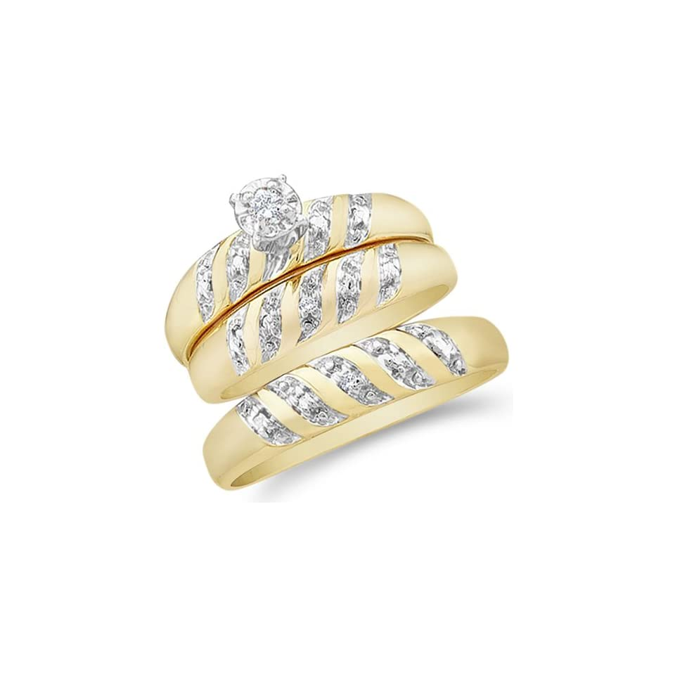 14k Yellow and White 2 Two Tone Gold Mens and Ladies Couple His & Hers Trio 3 Three Ring Bridal Matching Engagement Wedding Ring Band Set   Round Diamonds   Solitaire Center Setting (.07 cttw) Jewelry