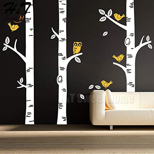 FidgetGear Large Birch Tree Birds Owl Forest Vinyl Wall Decal Sticker Kids Nursery Decor White&Lemon Yellow 209x250cm