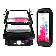 Latest Military Heavy Duty Aluminum Metal Gorilla Glass Shockproof Waterproof Bumper Cover Case for LG G3 NEW @XYG-Study (black)