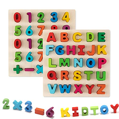 (Jamohom Wooden Number Puzzle and Alphabet Puzzle Set Ideal for Early Educational Learning Puzzle Board Toys for Kids 2 Sets)