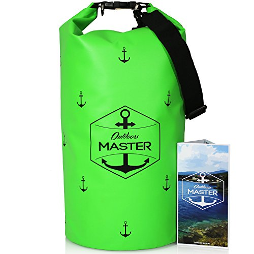 Outdoors MASTER Dry Bag - Floating Waterproof Bag for Boating, Sailing, Kayaking, Stand Up Paddle Boarding (Electric Green, 20L)