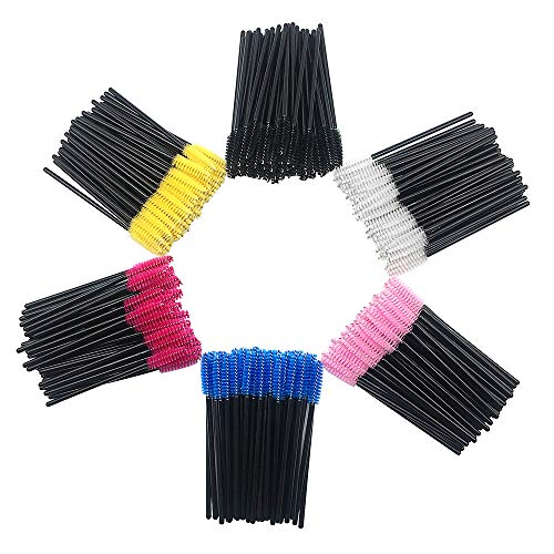 Huapan Spoolie Brushes for Eyelashes and Eyebrows, 300 pcs, 6 Color