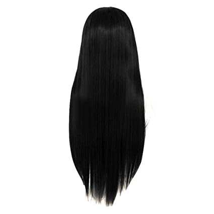 Babysbreath Moda mujer larga lisa media peluca de pelo recto Cosplay partido peluca Negro