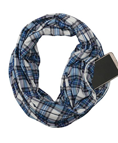 Zipper Pocket Women Infinity Scarf – USAstyle 2018 New Plaid Scarf Spring Summer, Stretchy Soft Lightweight Jersey, Reach CP65 Standard , - Scarf New Womens
