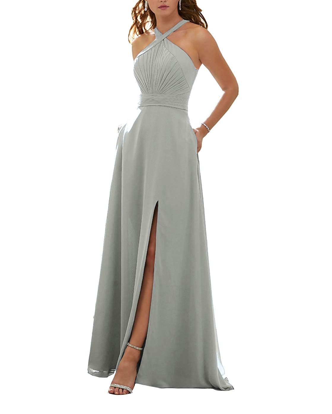 Silver Stylefun Women's Halter Bridesmaid Dresses Slit 2019 Formal Prom Evening Party Gowns with Side Pockets KN010
