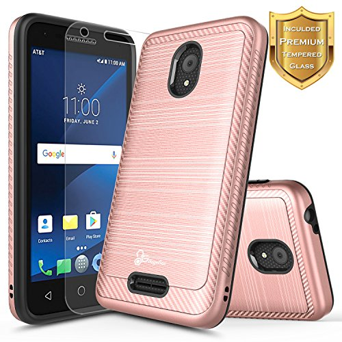 Alcatel IdealXCITE Case, Alcatel Raven LTE (A574BL), Alcatel CameoX/Alcatel Verso / U50 Case with [Tempered Glass Screen Protector], NageBee [Carbon Fiber Brushed] Dual Layer Hybrid Case -Rose Gold