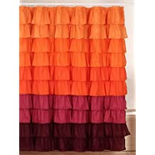 Bedford Home Harvest Ruffle Shower Curtain with Buttonhole
