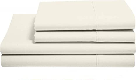 Today/'s Offer Fitted Sheet Queen Size White//Taupe Solid Pure Cotton 15 Inches